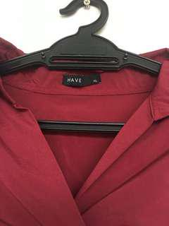 Maroon v-neck batwing blouse