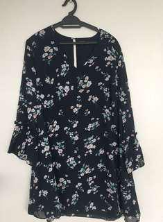 Zalora floral blouse/ shift dress with bell sleeves.