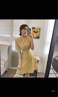 Mustard yellow checkered dress