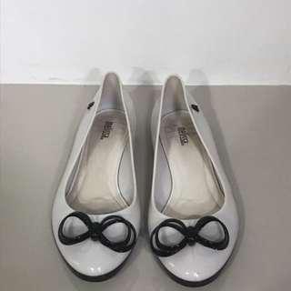 Melissa white black jelly flat shoes slip on ballerina