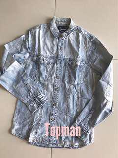 TOPMAN denim jeans long sleeves button shirts casual smart