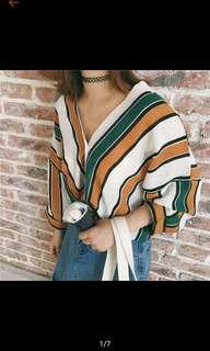 Stripe collar V blouse