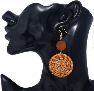 Handmade Woven RATTAN Earrings