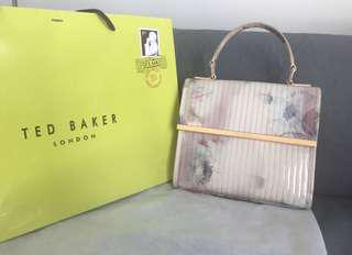 Ted baker patent leather floral white summer top handle bag