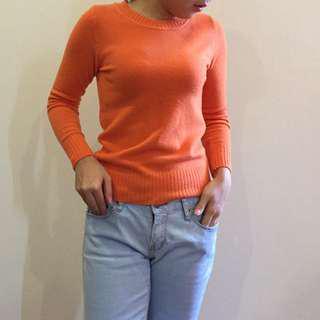 Orange Long Sleeve Knitted Top