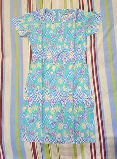 Dress Batik - Motif Biru Muda