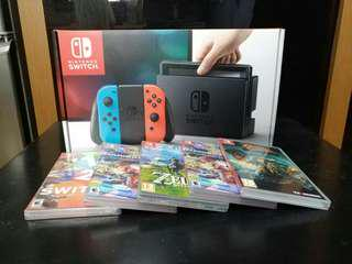 🎮LNIB Nintendo Switch with Game🎮 Full Set Neon Red/Blue