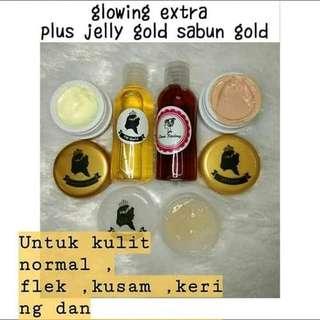 Paket Glowing extra plus jelly gold, sabun gold, utk kulit kusam, normal dan flek, yu yg mau glowing pesan creamnya.