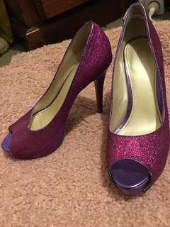 Betts purple sparkly heels