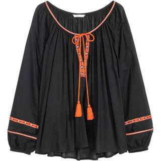 H&M Embroidered Boho / Peasant Top