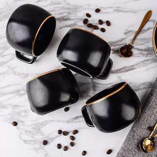 Matte Black Coffee Mug Set