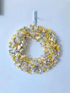 Yellow Gray Fabric Wreath