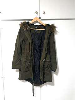 Atmosphere Primark UK Army Green Fur Hooded Coat