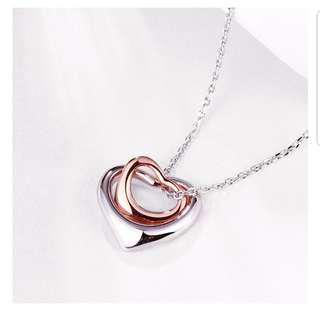 White Gold Plated Heart Necklace