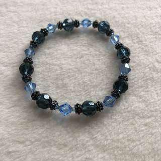 Blue and Black Stretchable Bracelet
