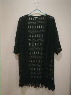 Black Crochet Cardigan
