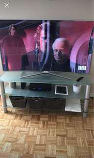 "Great condition glass / silver 55"" tv stand."
