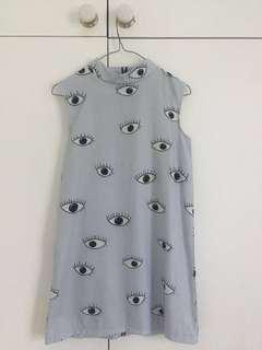 Eye print shift dress with mock neck - Zara inspired!