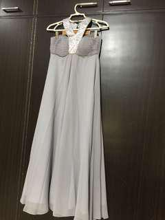 Long gown, silver/gray