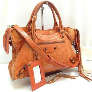 Orange balenciaga city bag leather