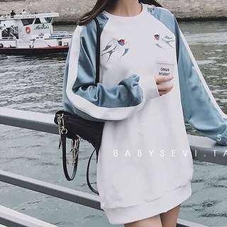Blue & white embroidered swallows sweatshirt dress