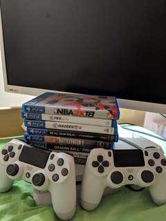 """PS4, controllers with games and 24"""" LG IPS LED"""