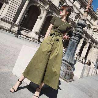 Khaki green top and culottes set