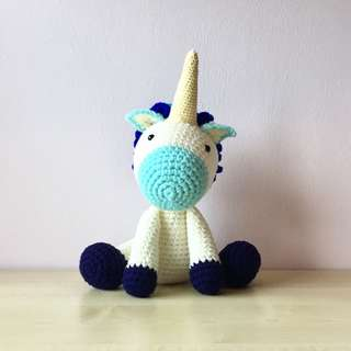 Blue unicorn (with desired name tag or short message tag)