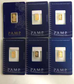 SWISS (original) - 999 Gold Bar - 1 gram per bar ❤️💚💜💙