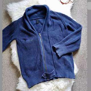 LEE sz M/10 blue women men unisex thick knit jacket coat long sleeve cotton warm