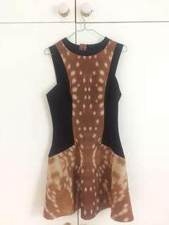 Cameo bambi dress - deer print with black panelling