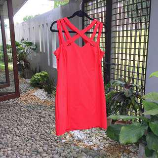 【MANGO】 Red Strappy Dress