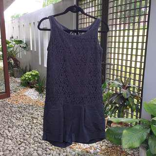 【PLAINS & PRINTS】 Black Lace Romper