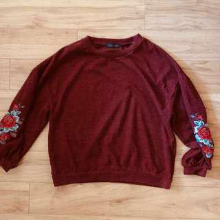 Maroon Flower Embroidered Pullover
