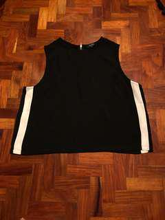 Boxy cropped top with side stripes