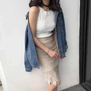 高腰蕾絲包臀裙