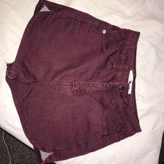 Maroon High Waisted Denim Shorts