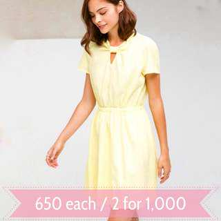 MANGO Yellow Textured Bow Front Dress Extra Small XS