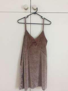 Pull and bear pink silver velvet slip dress