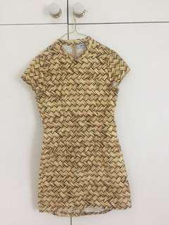 Maurie and eve crepe bodycon high neck basket weave print dress
