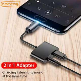 2 in 1 adapter usb type C enable type C android mobile phone