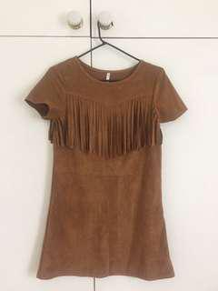 Faux suede brown mini dress with boho fringe