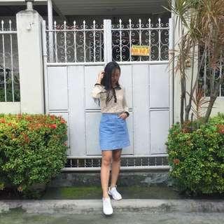 Vintage Lace Top & Denim Skirt