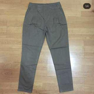 Zara Navy Green Tapered Trousers