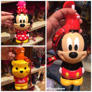 PO HK Disneyland 3D diecut mickey, minnie, Pooh water bottle with straps