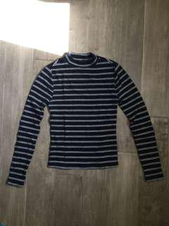 Cotton Striped Mock Turtleneck Longsleeve