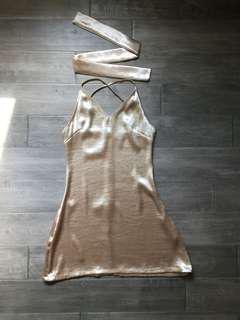 NEW Gold Satin Dress w/ Choker Tie