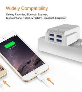 4 USB 4.4aMp fast charging 3pin adapter including USB cable
