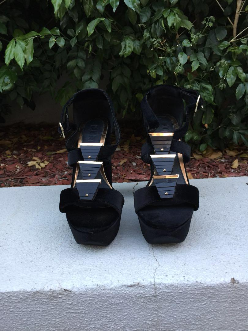Black and gold suede heels