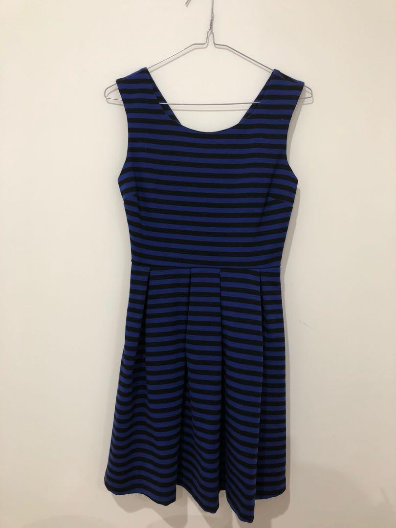 Blue/black striped dress